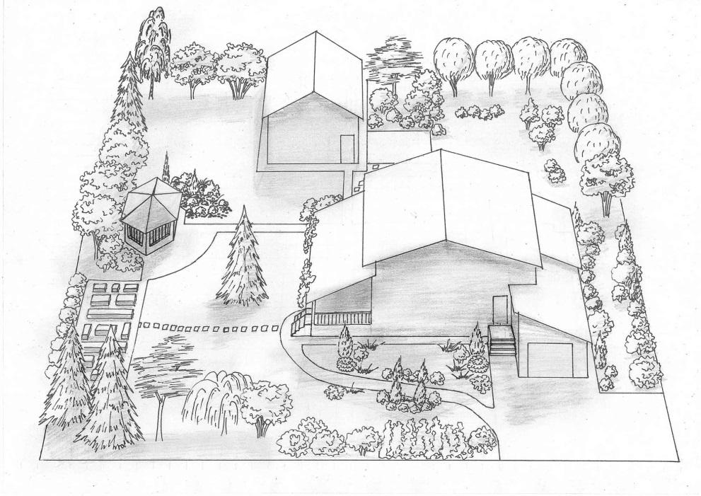 Планировка участка на бумаге, где указаны строения, дорожки, большие деревья