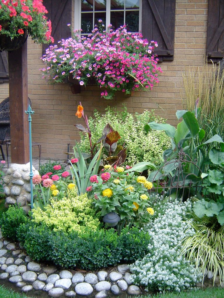 Цветник во дворе своими руками фото