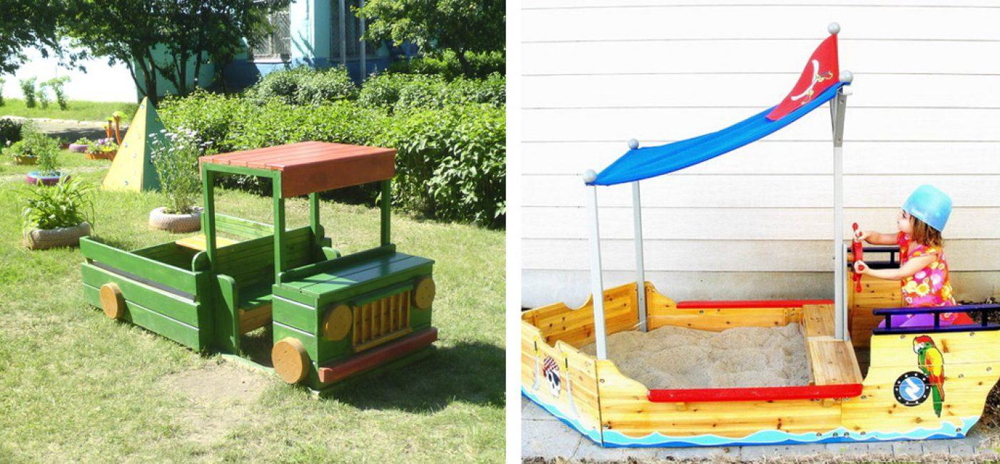 Для мальчиков идеально подойдёт конструкция машинки, для девочек – цветочная поляна.