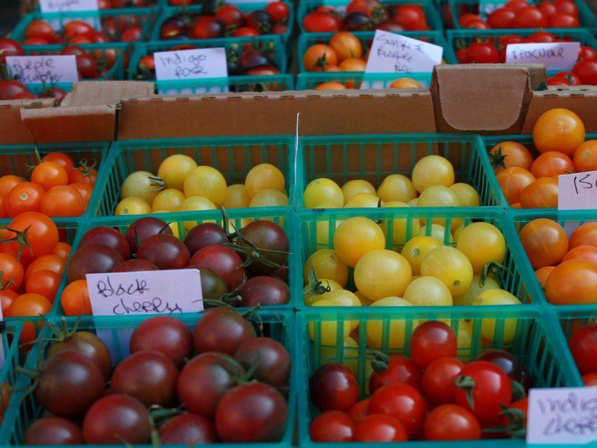 томаты на прилавке, много видов