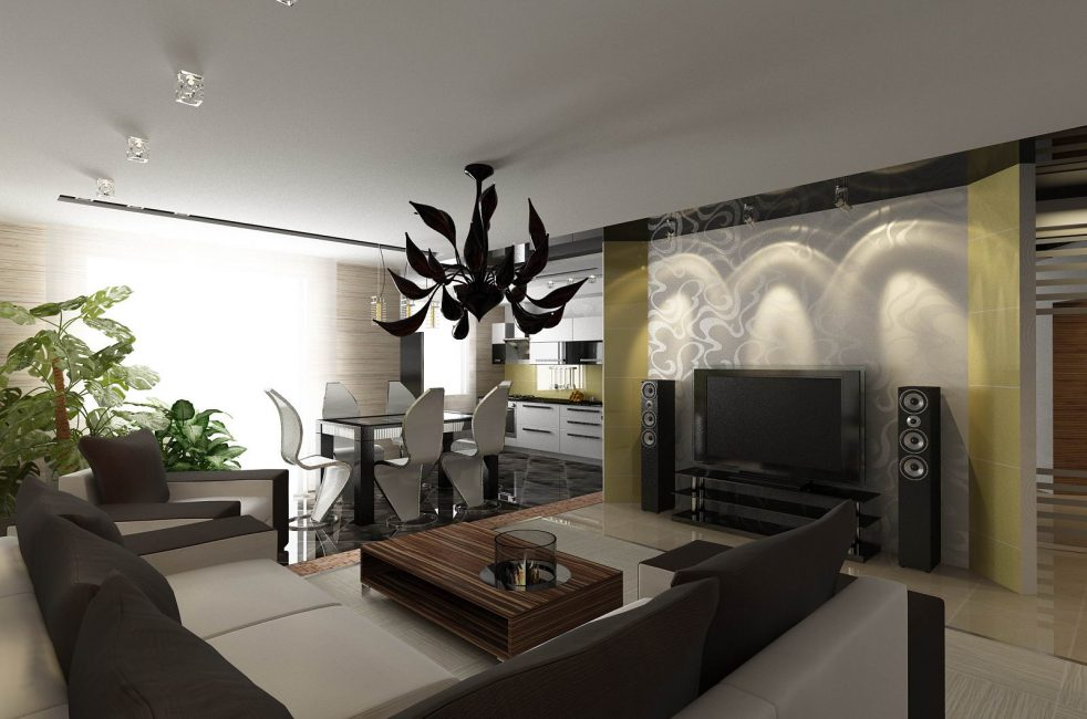 Кухня-гостиная, оформленная с использованием контрастных цветов