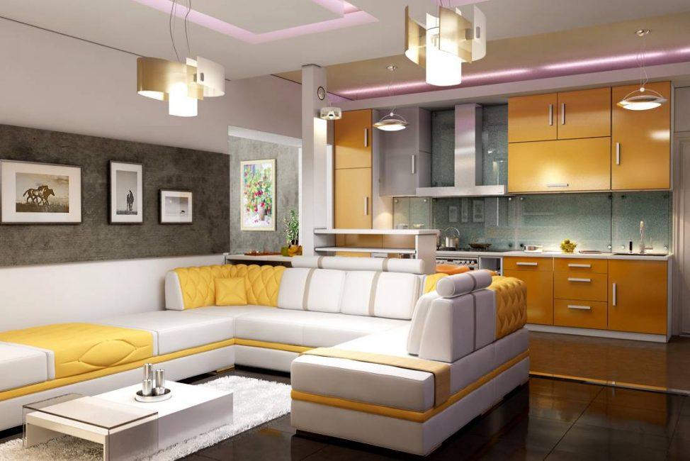Светлая гостиная с яркими желтыми акцентами