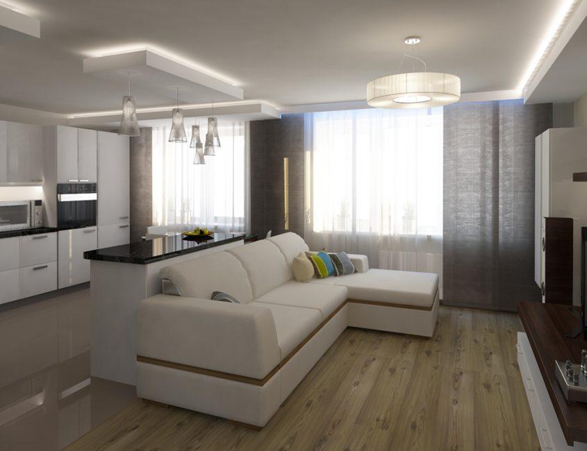Гостиная, оформленная с преобладанием серых оттенков