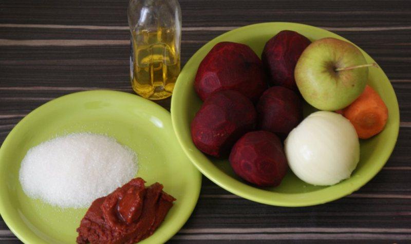 Ингредиенты для приготовления икры с яблоками