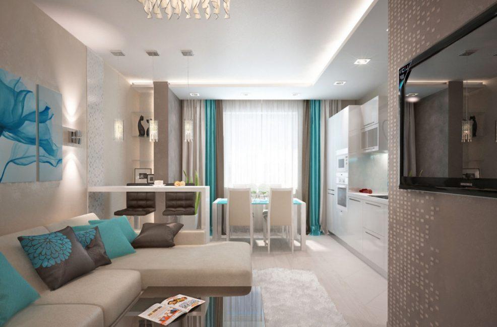 Светлая кухня-гостиная с преобладанием пастельных оттенков