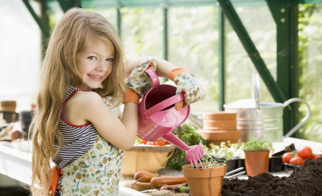 маленькая девочка поливает цветы