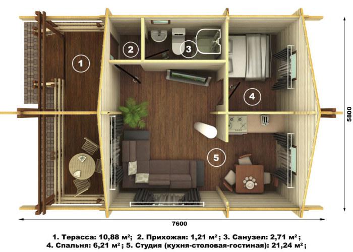 Планировка здания 5,8х7,6 м