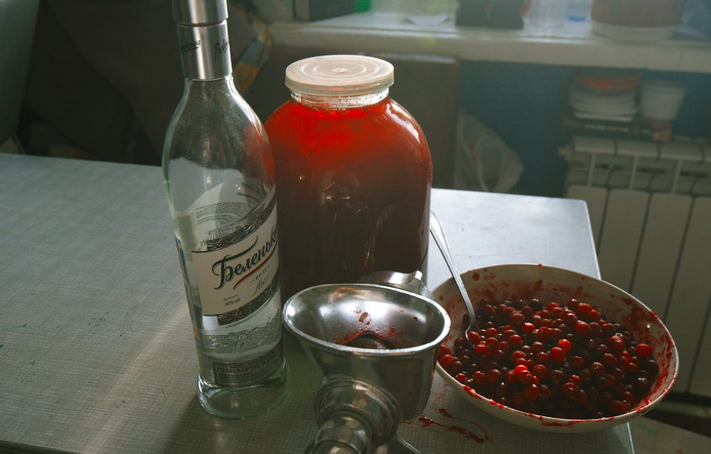 водка и клюква на столе