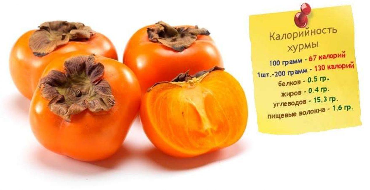 Калорий в хурме обычно в 100 г от 50 до 70