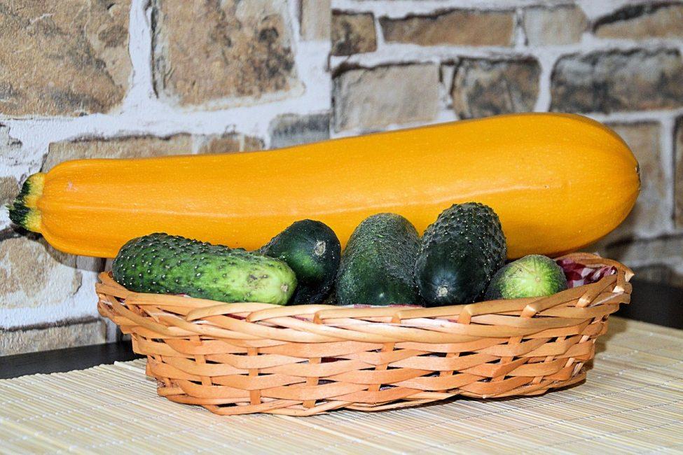 Желтый кабачок лежит на огурцах