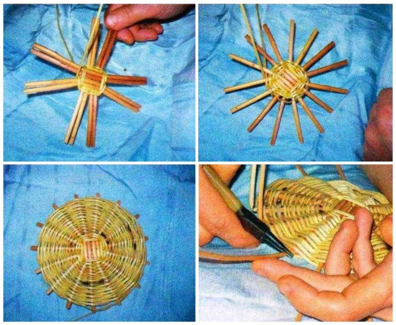 Плетение дна корзинки-кашпо