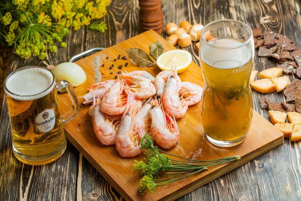 Креветки с пивом