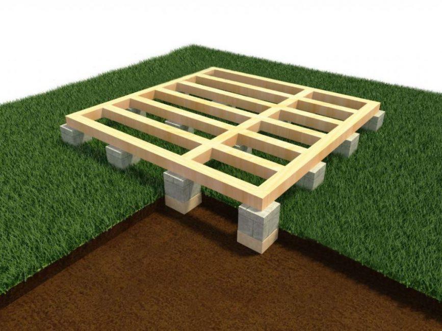 Простейшая опора для открытого легкого строения из бруса