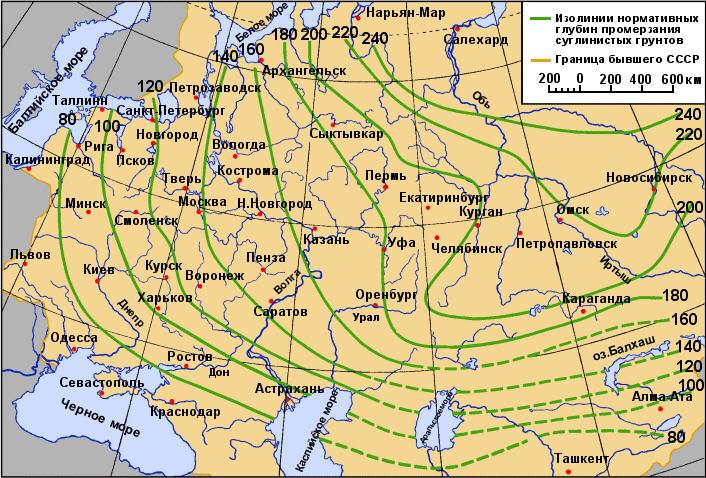 Глубина промерзания грунта по регионам России