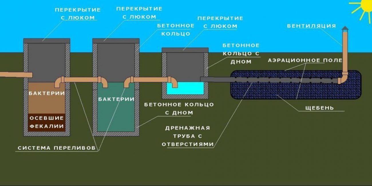 Схема 3-камерного септика с дренажным полем
