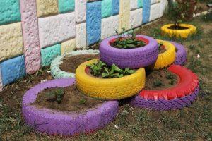 цветники из шин
