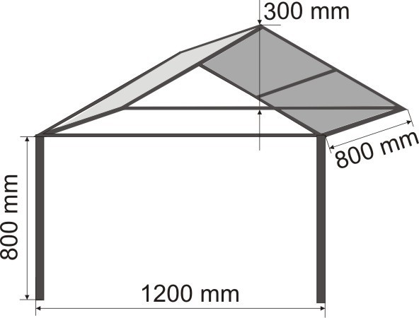 Схематичный чертеж двускатного навеса из поликарбоната