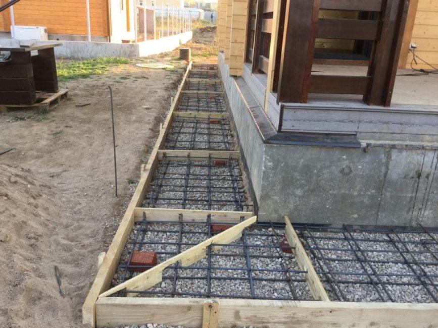 Опалубка для отмостки готовая к заливке бетона