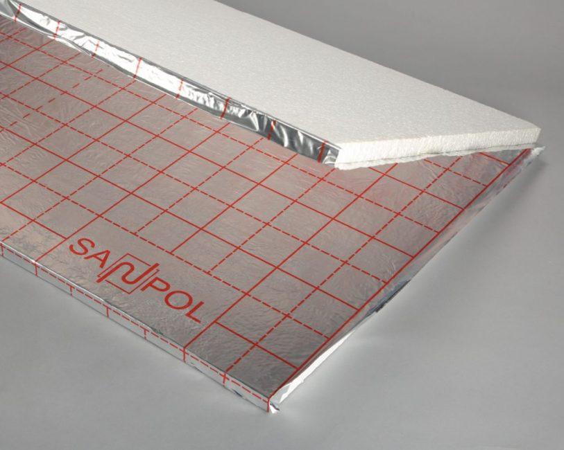 Теплоизоляционный материал с фольгированным покрытием и разметкой