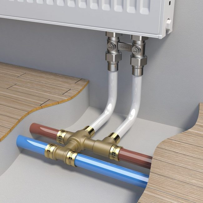 Монтаж труб отопления в стяжку пола