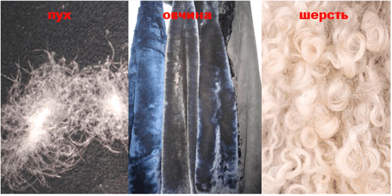 Набивки из шерсти и пуха животных