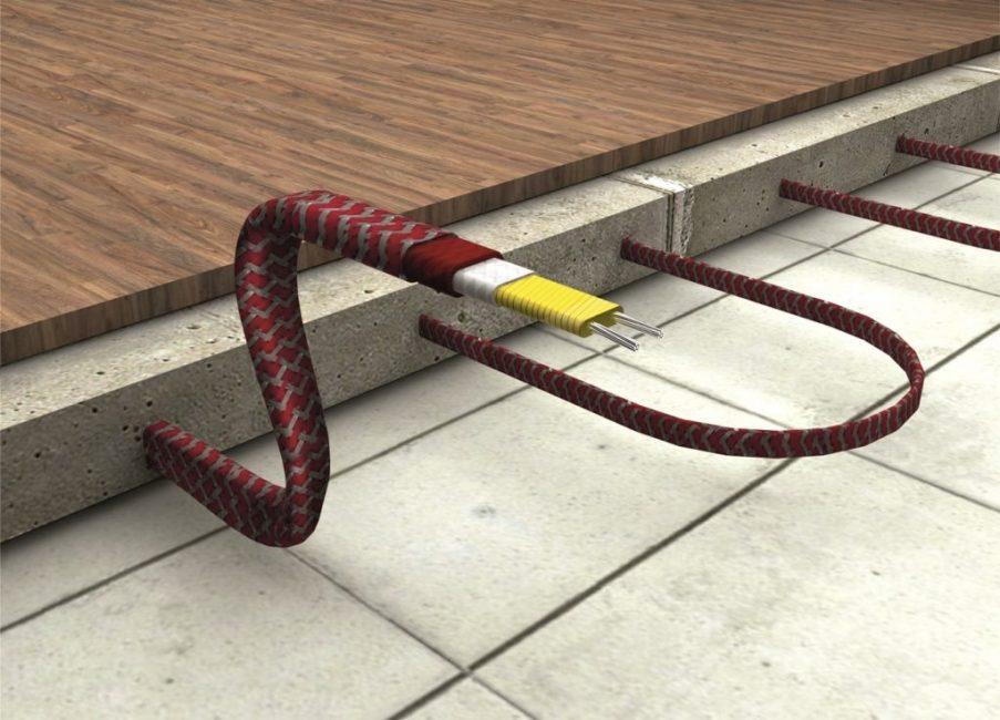 Кабельный обогрев укладывается змейкой или спиралью в отдалении от стен и мебели