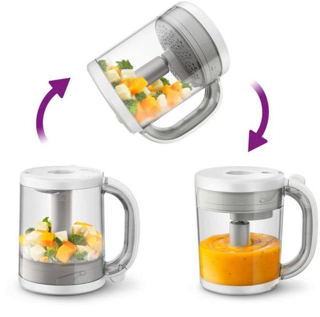 Модель удобна тем, что готовая пища измельчается в емкости сразу после варки. Протертое детское питание остается извлечь из чаши