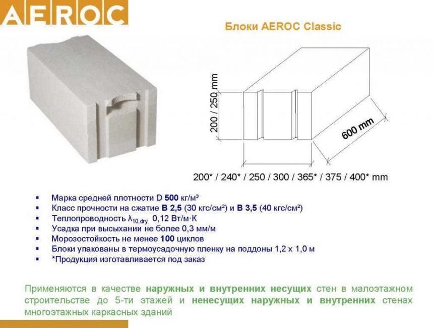 Газоблок Aeroc D400-D500