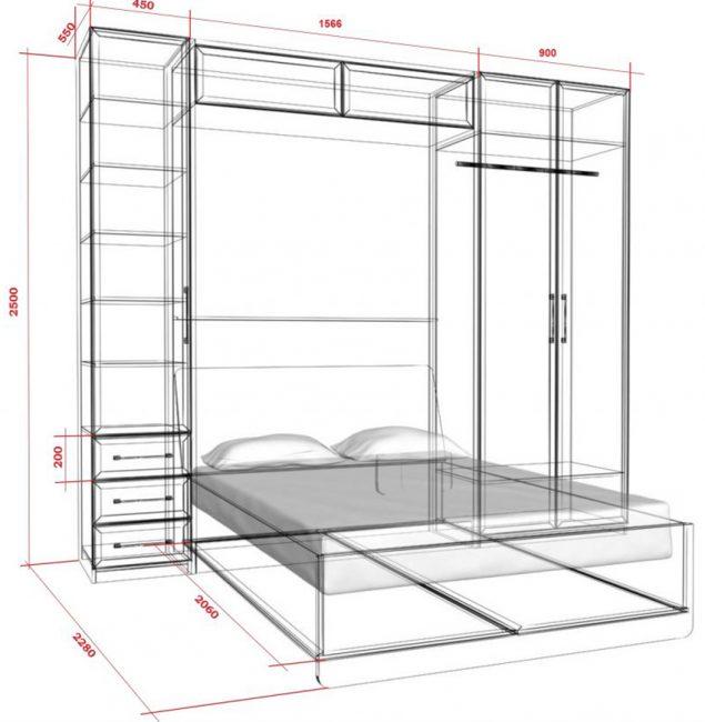 Чертёж для изготовления шкафа-кровати