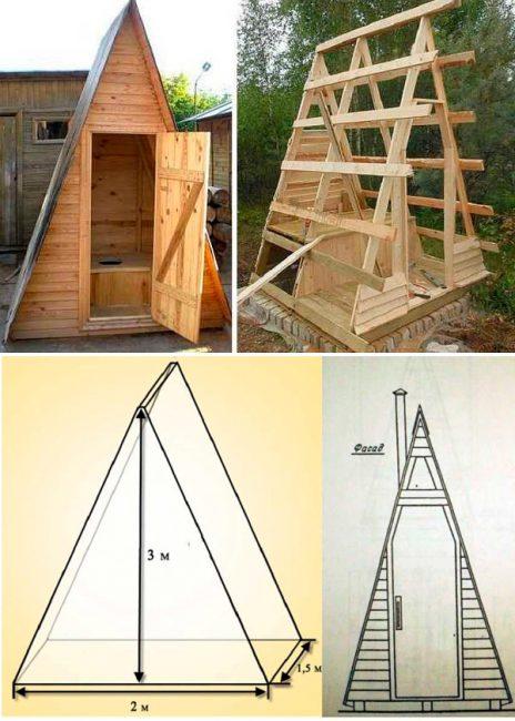 Схема возведения туалета в форме шалаша