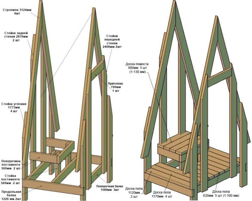 Схемы сборки фасадной и оборотной частей