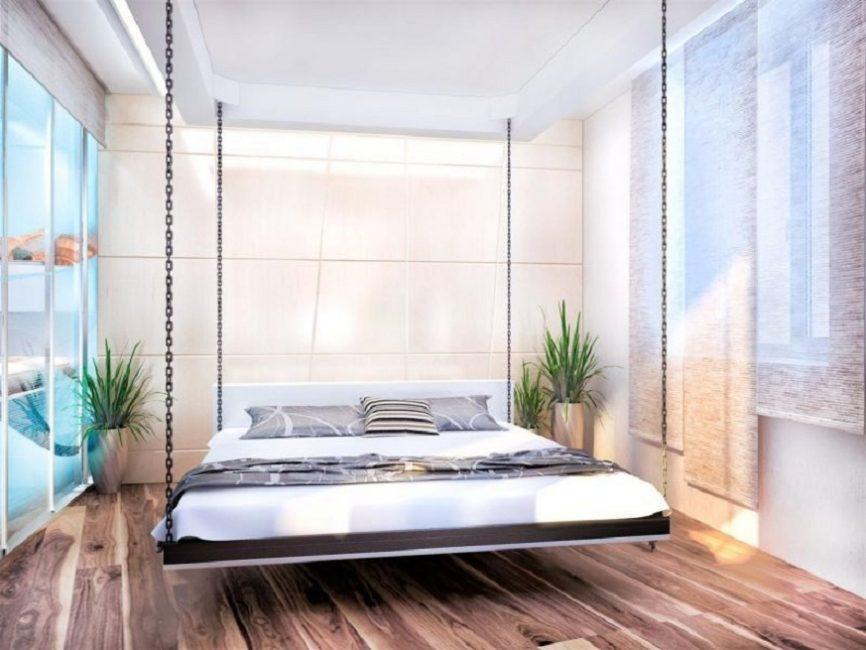 Подвесная кровать – необычное дизайнерское решение в интерьере спальни