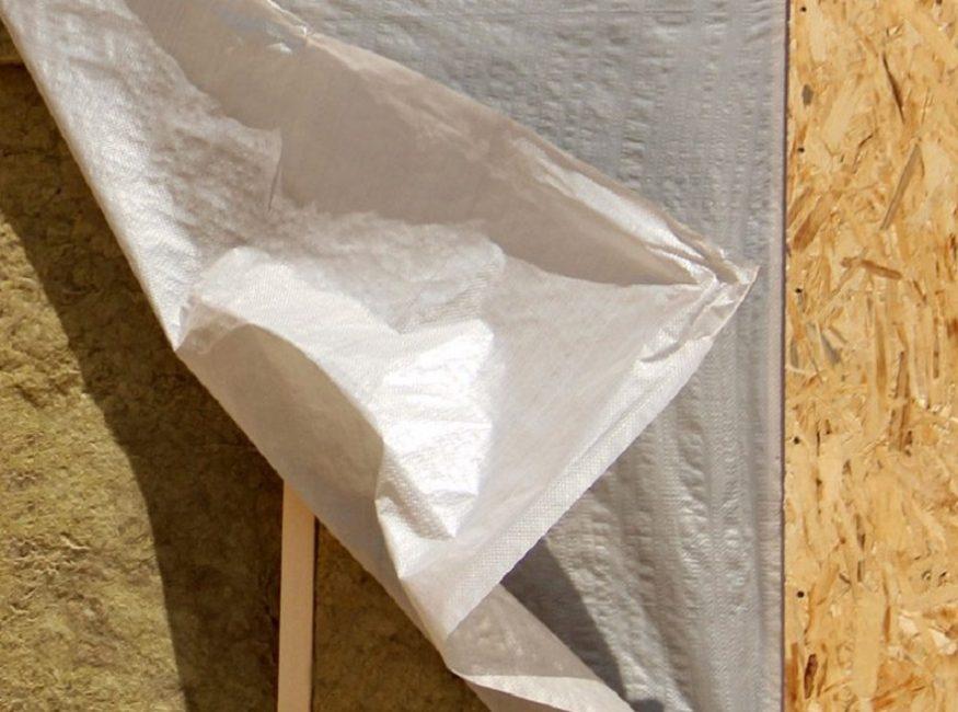 Слои теплоизоляции: минеральная вата, влагозащитная мембрана, лист OSB
