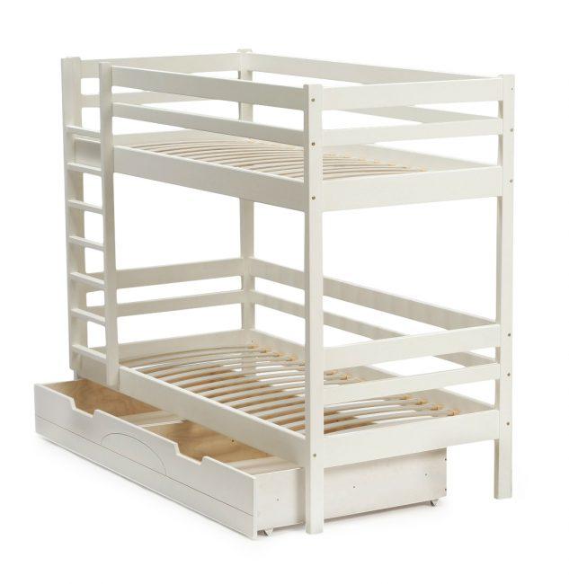 Нижний ярус с выдвижными ящиками – одна из популярных конструкций двухэтажной детской мебели для сна