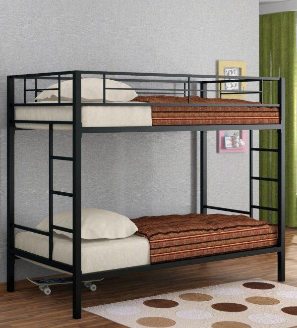 Кровать на 2 яруса из металлических профилей – надёжная и долговечная