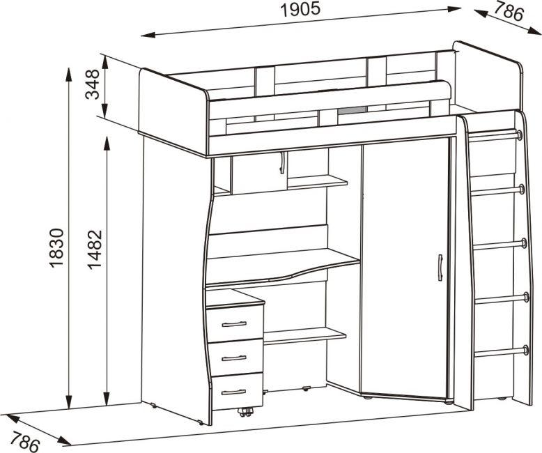 Чертёж конструкции со спальным местом наверху и рабочей зоной в нижнем ярусе