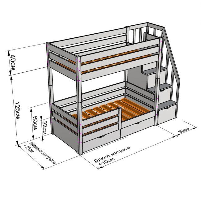 Для устойчивости двухярусную конструкцию привинчивают к стене и «ставят» на пятую ножку