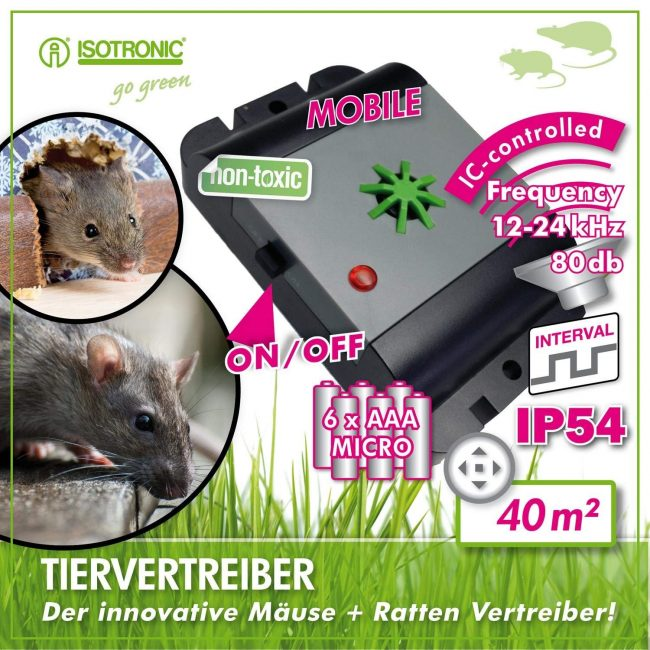 Отпугиватель ультразвуковой от крыс и мышей ISOTRONIK MICE + RATS REPELLER