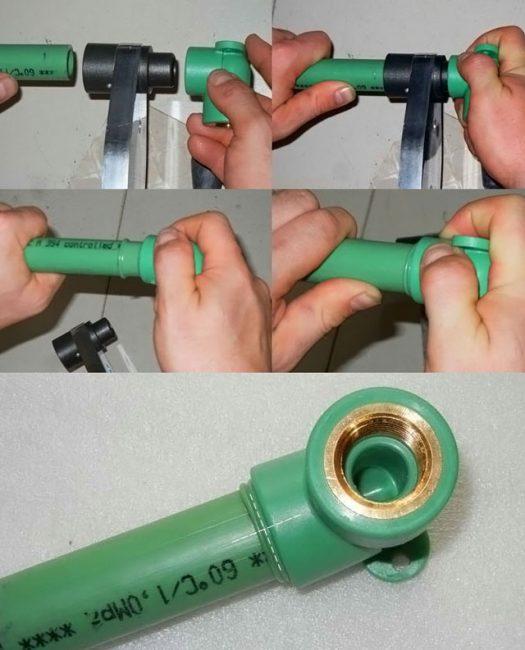 Процесс сваривания полипропиленовой трубы
