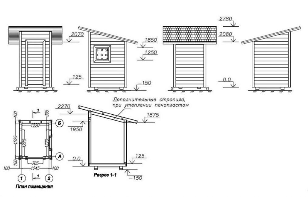 Подробный план душевого помещения в разных ракурсах