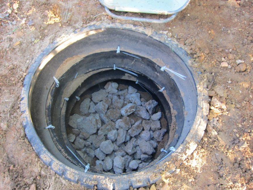 Старые колеса предотвратят преждевременное осыпание дренажной ямы