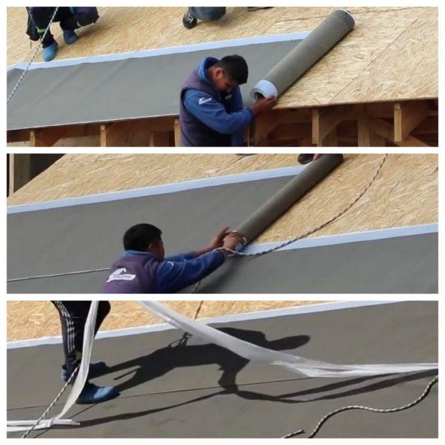 Укладка полос ковра внахлёст, удаление защитной бумаги с клеевых полос, а потом на гвозди 35мм