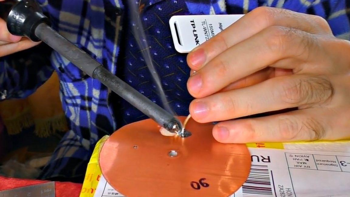 Внешняя оплётка припаивается к кружку наибольшего диаметра