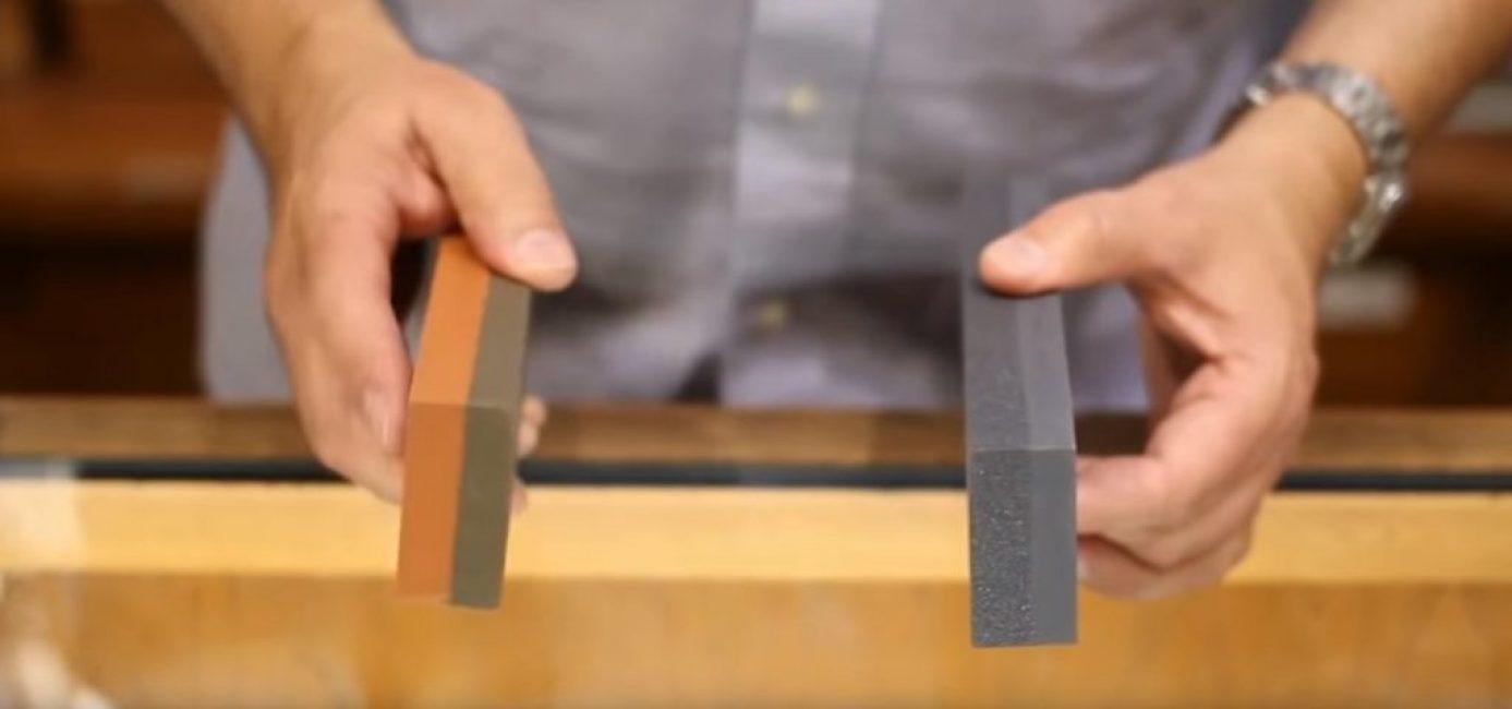 Существуют два типа точильных камней – индия (слева) и кристал (справа)