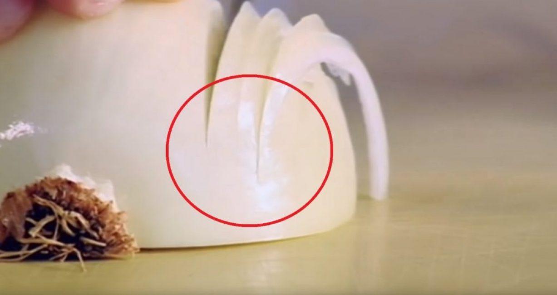 Кончик ножа при нарезке не выходит за границы луковицы