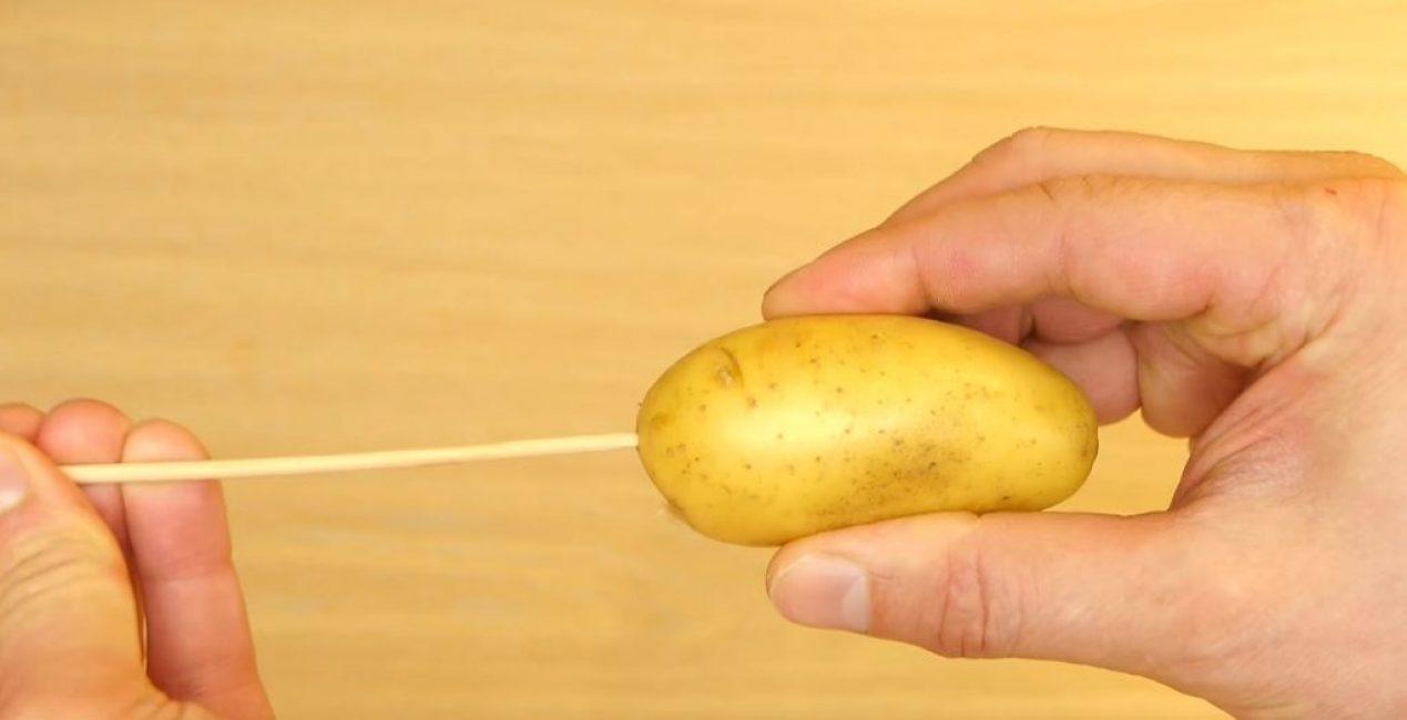 Картофель нанизан на палочку