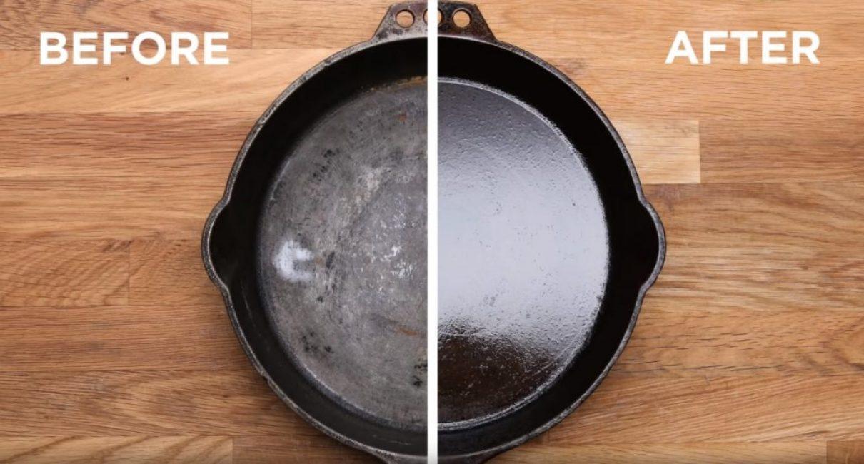 Сравнение сковороды до (слева) и после (справа) процесса чистки и формирования защитной плёнки