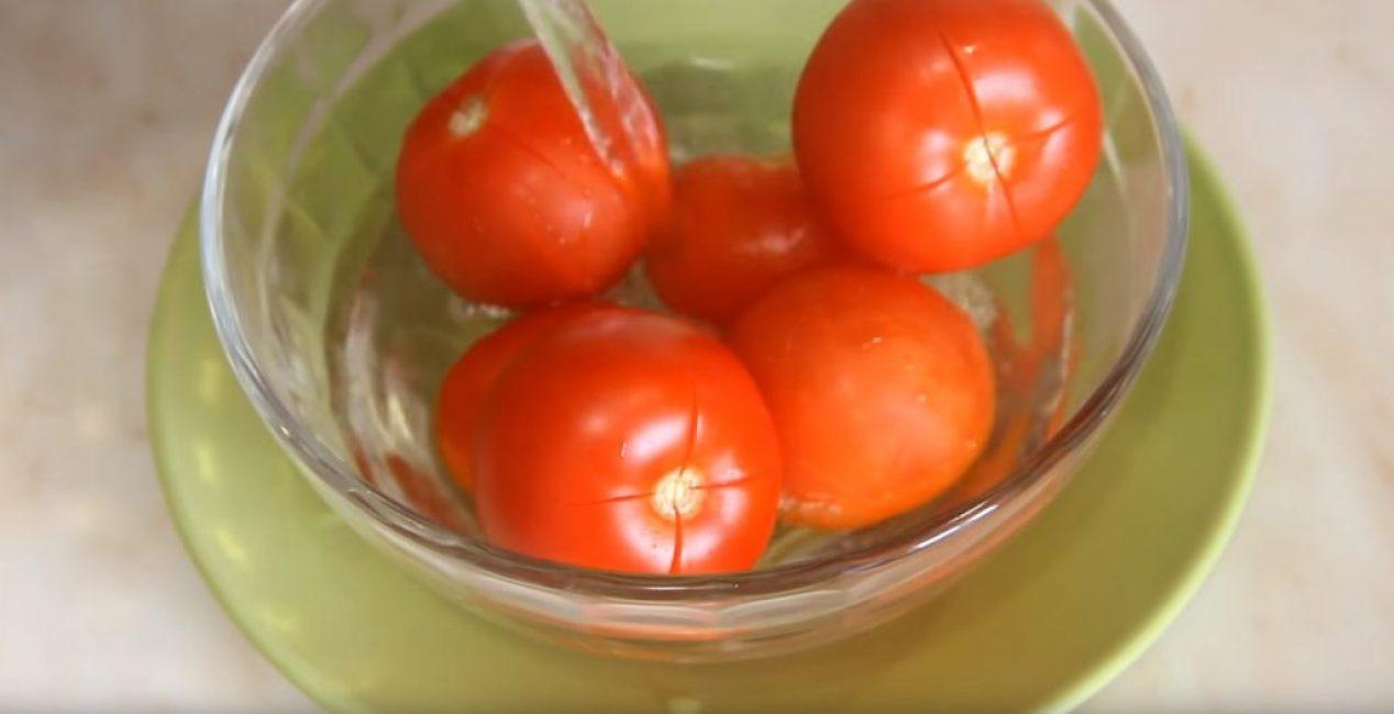 Заливка помидоров кипятком