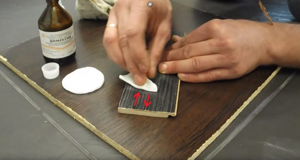 Движения ватным диском при окончательной очистке поверхности