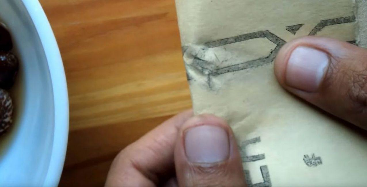 Наждачная бумага с семенами вдвое